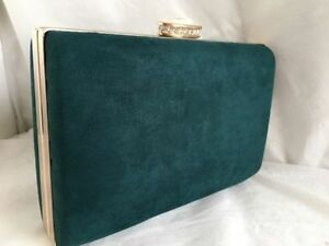 Image Is Loading New Spruce Green Faux Suede Box Evening Clutch