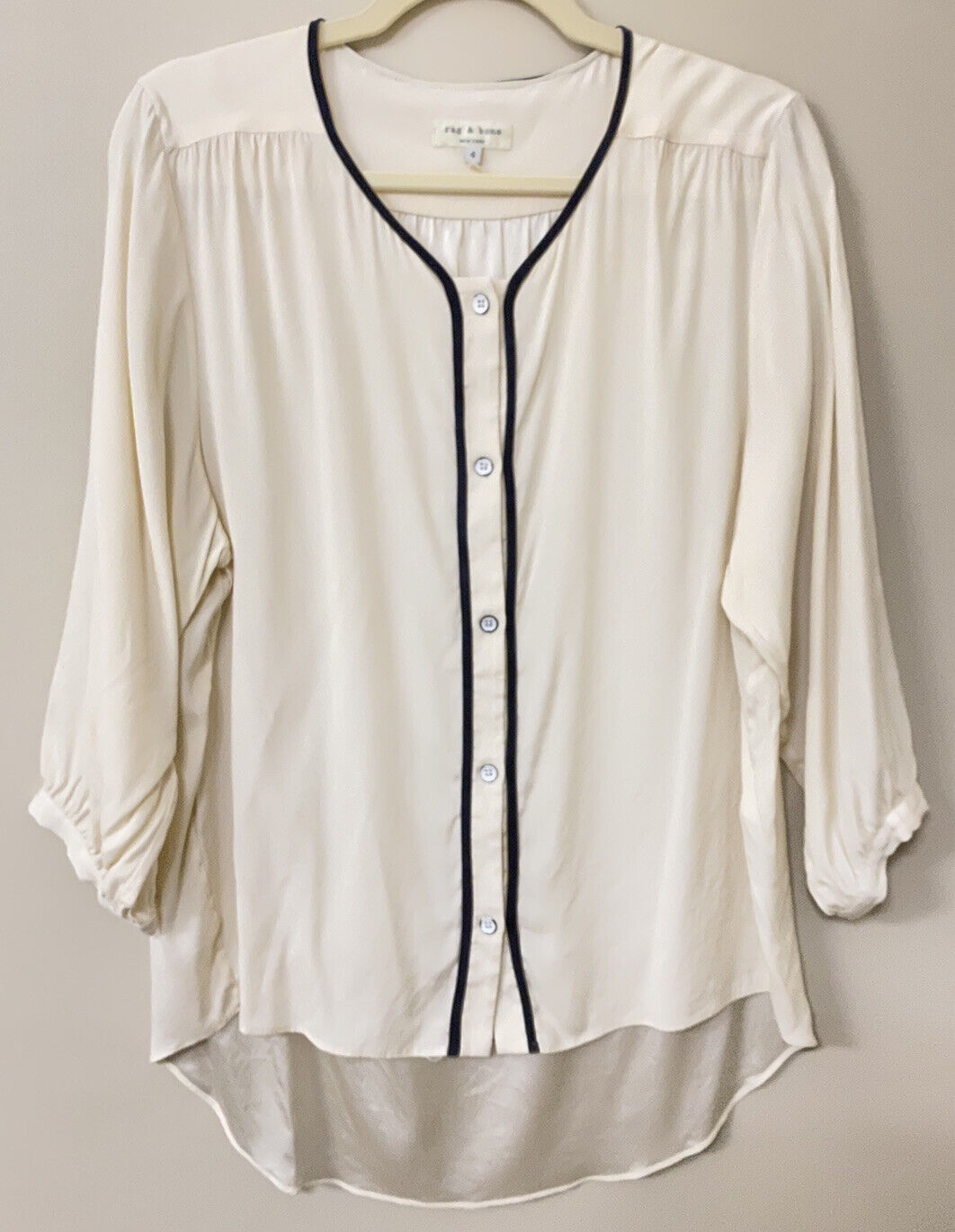 RAG AND BONE SILK BLOUSE - MADE IN USA - WHITE - … - image 1