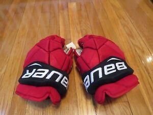Used-Bauer-Vapor-1X-Pro-Stock-New-Jersey-Devils-14-034-Hockey-Gloves-MeiGray