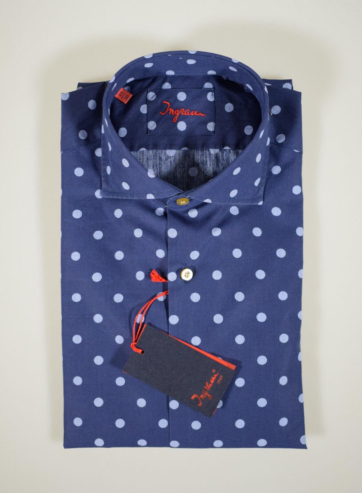 Camicia moda Ingram slim fit Blau a pois in puro cotone lavato collo francese