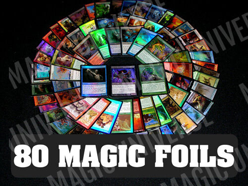 80 ASSORTED FOIL MTG MAGIC: THE GATHERING CARDS With FOIL RARES! ALL FOILS!