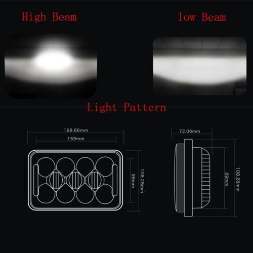"4pc 4x6/"" Led Hi//Lo Beam Headlight For GMC Chervolet Peterbilt Kenworth T800 W900"