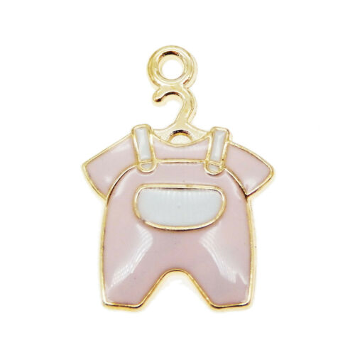 5pcs Pink Enamel Alloy Baby Clothing Pendants Charms Jewelry Crafts 39230