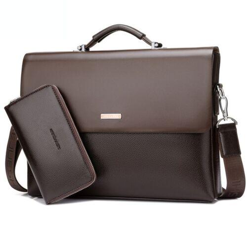 New Classic Business Mens Leather Briefcase Bag Handbag Laptop Shoulder Bags