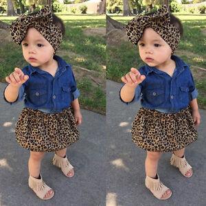 578f05c25a4 3PCS Toddler Kids Baby Girl Denim Shirt+Skirt Dress+Headband Outfits ...