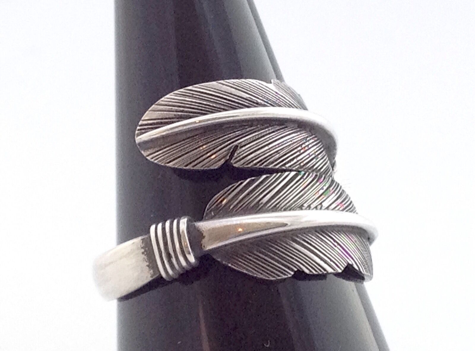 MENS WOMENS STERLING SILVER 925 FEATHER BYPASS JEWELRY RING (FREE SIZE) 9 10 11