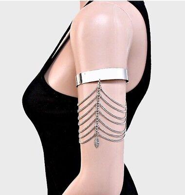 Metal Silver Upper Arm Fringe Cuff Gypsy Costume Armlet Wedding Bracelet