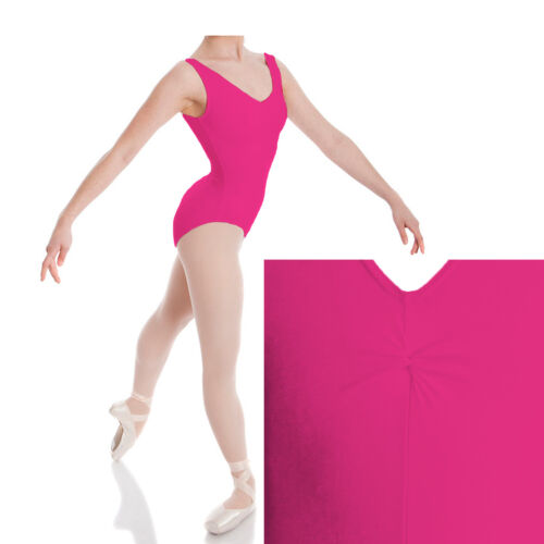 KGSLS Kids Girls Sleeveless Front Gathered Leotard Nylon Sport Dance Party Top