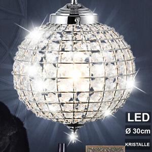 LED Decken Pendel Leuchte Wohn Zimmer Kristall Kugel Beleuchtung Chrom Lampe