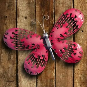 Details About Pink Butterfly Wall Art Sculpture 3 D Handcrafted Metal Decor Indoor Outdoor