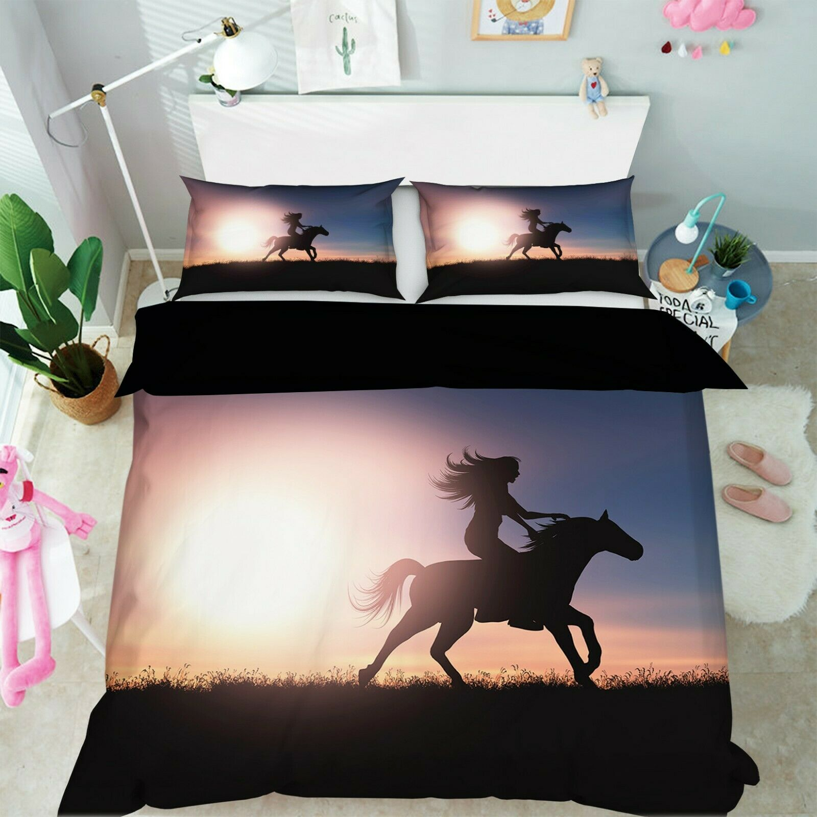 3D Horse Sunlight G05 Animal Bed Pillowcases Quilt Duvet Cover Set Queen King We