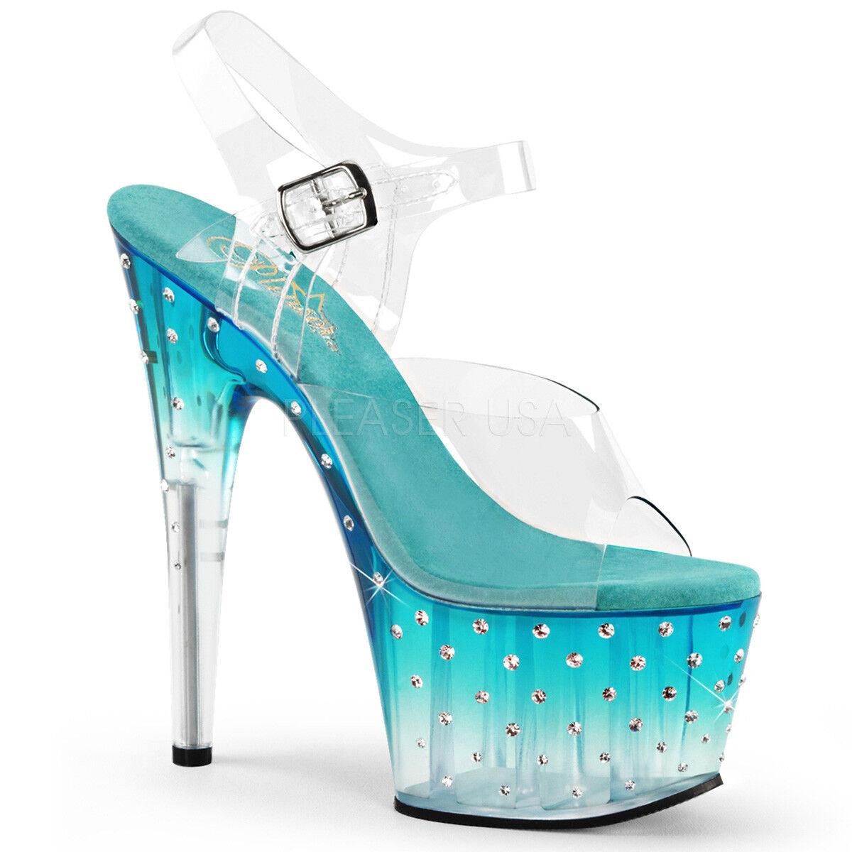 Pleaser STARDUST-708T STARDUST-708T STARDUST-708T Women's Clear Teal Rhinetones Heels Platform Strap Sandals baf1ce