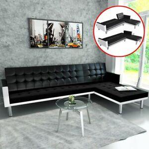 vidaXL-Ecksofa-Schlaffunktion-Schlafsofa-Couch-Sofagarnitur-Kunstleder-Schwarz