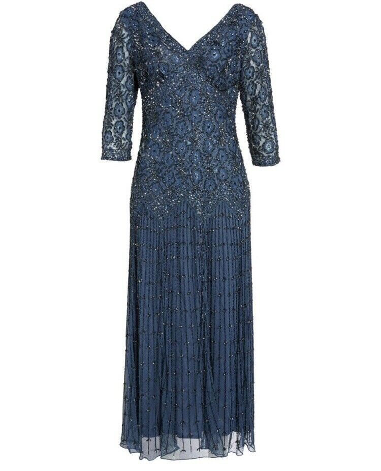 NWT Pisarro Nights Lace Bead maska Dress Gown in blå [SZ 14]35;F115