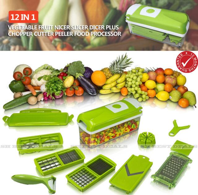 Genius Nicer Dicer Plus 12pcs Fruit Vegetable Kitchen Tools Cutter Chop Peeler