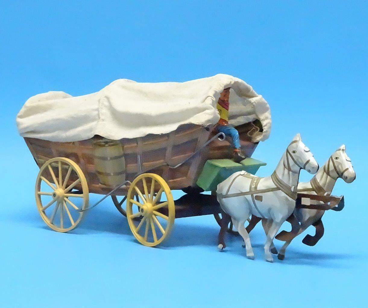 MI-439 - Vintage Covered Covered Covered Wagon - Like Marx - 54mm Tin - No Box 71f4a3