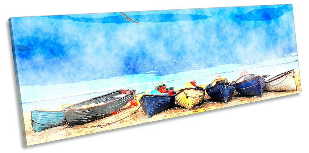 Beach Boats Blau Seascape PANORAMA CANVAS WALL ARTWORK Print Art
