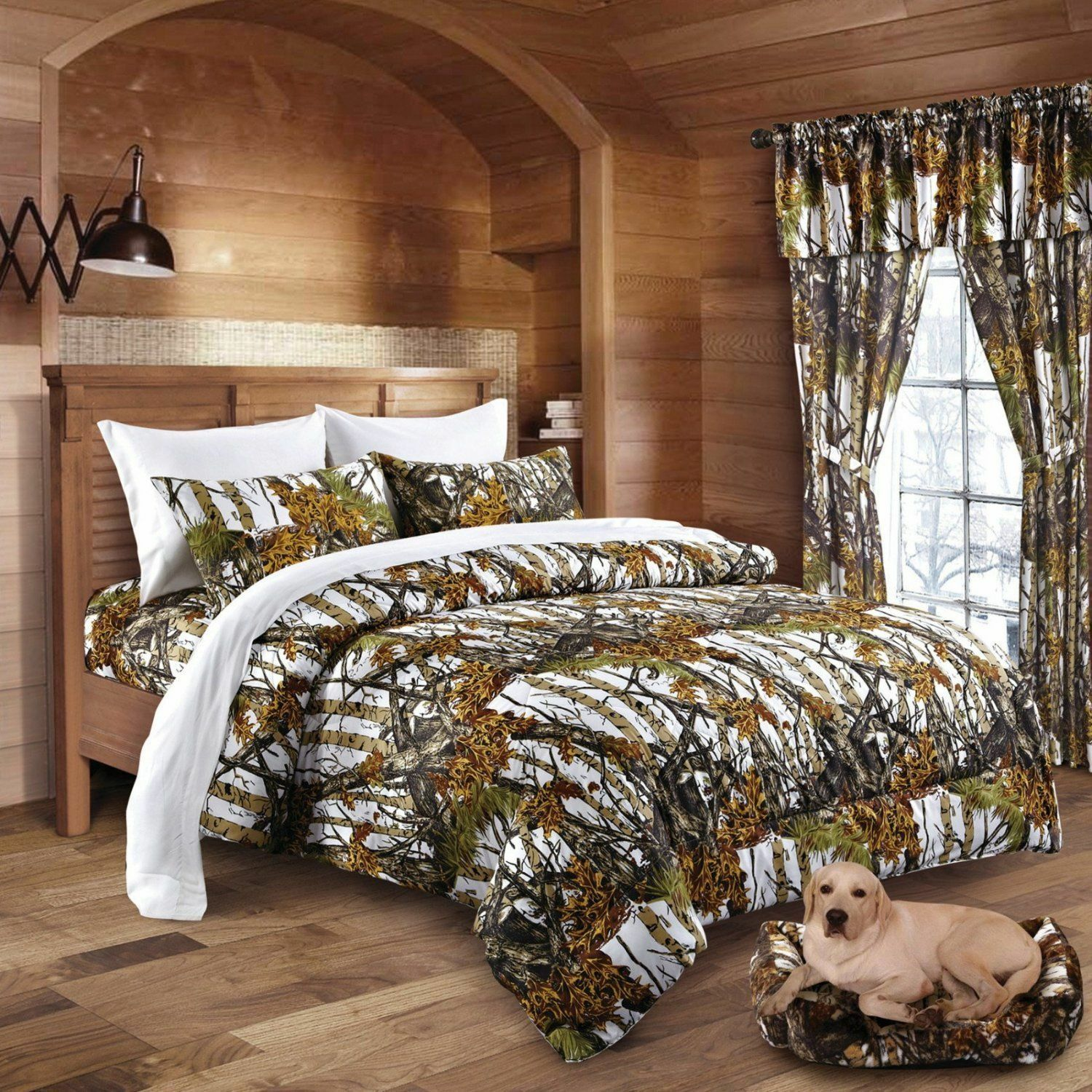 7 PC THE WOODS KING  WHITE CAMO COMFORTER AND SHEET  SET CAMOUFLAGE BEDDING