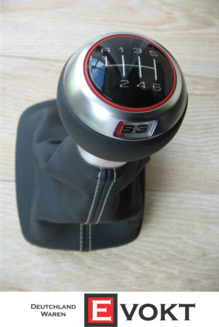 Audi S3 8P leather shift knob 6 speed A3 RS3 shift collar red stitching