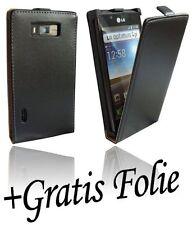 Displayfolie Folie + Klapp Tasche Handyhülle Chic für LG Optimus L7 P700 Schwarz
