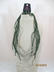 Green-Seed-Bead-amp-Silver-Tone-Tube-Bead-8-Row-Necklace-amp-Hook-Earrings-Set