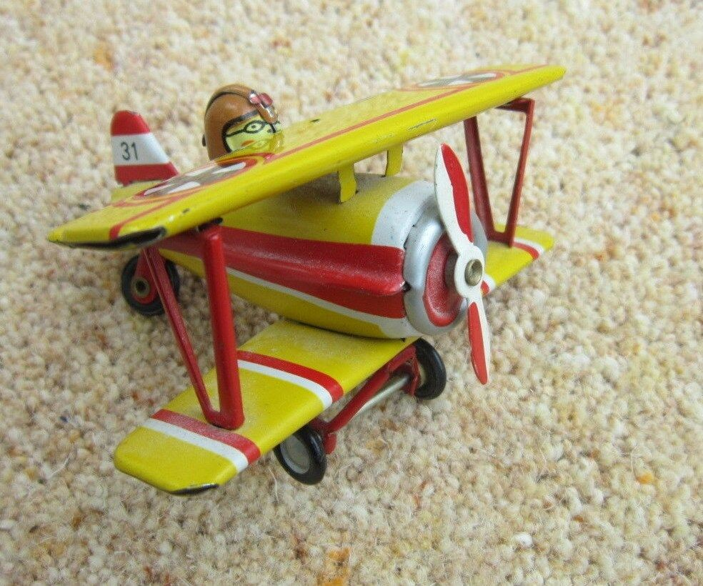 Vintage German Penny Toy Tin Bi-Plane Marked ZZ Yellow VERY RARE
