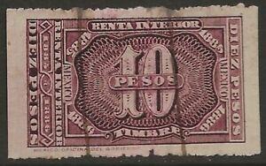 Mexico-Revenue-1885-86-Renta-Interior-10P-Brown-Violet-Fine-Used-CV-35-00