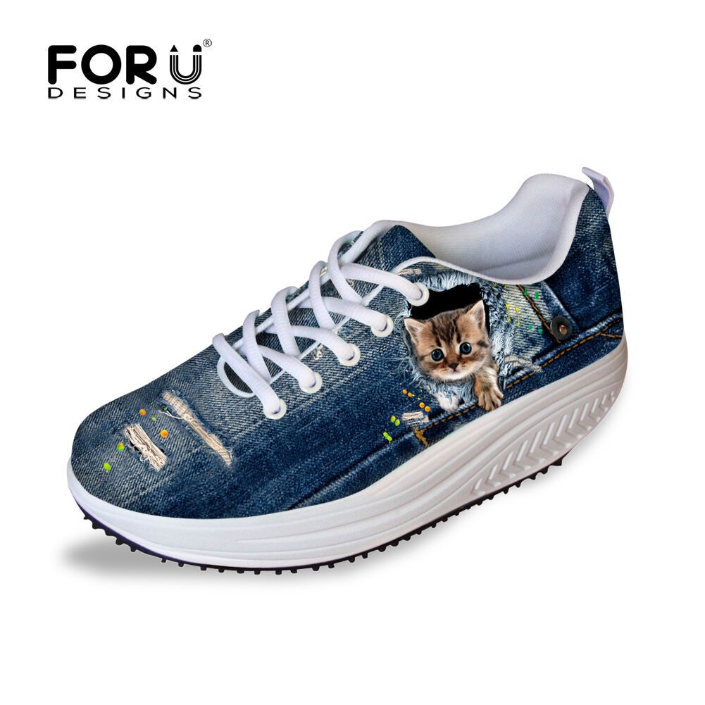 Women Toning shoes bluee Jane Print Girl Comfy Lace Up Wedge Platform Sneakers
