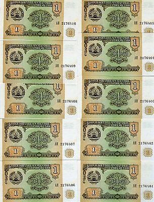 TAJIKISTAN 1 Ruble X 100 PCS 1994 P-1 Full Bundle UNC