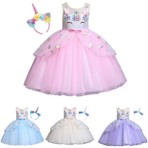 Unicorn Kids Girls Tulle Ruffled Princess Birthday Party Pageant Dresses Costume