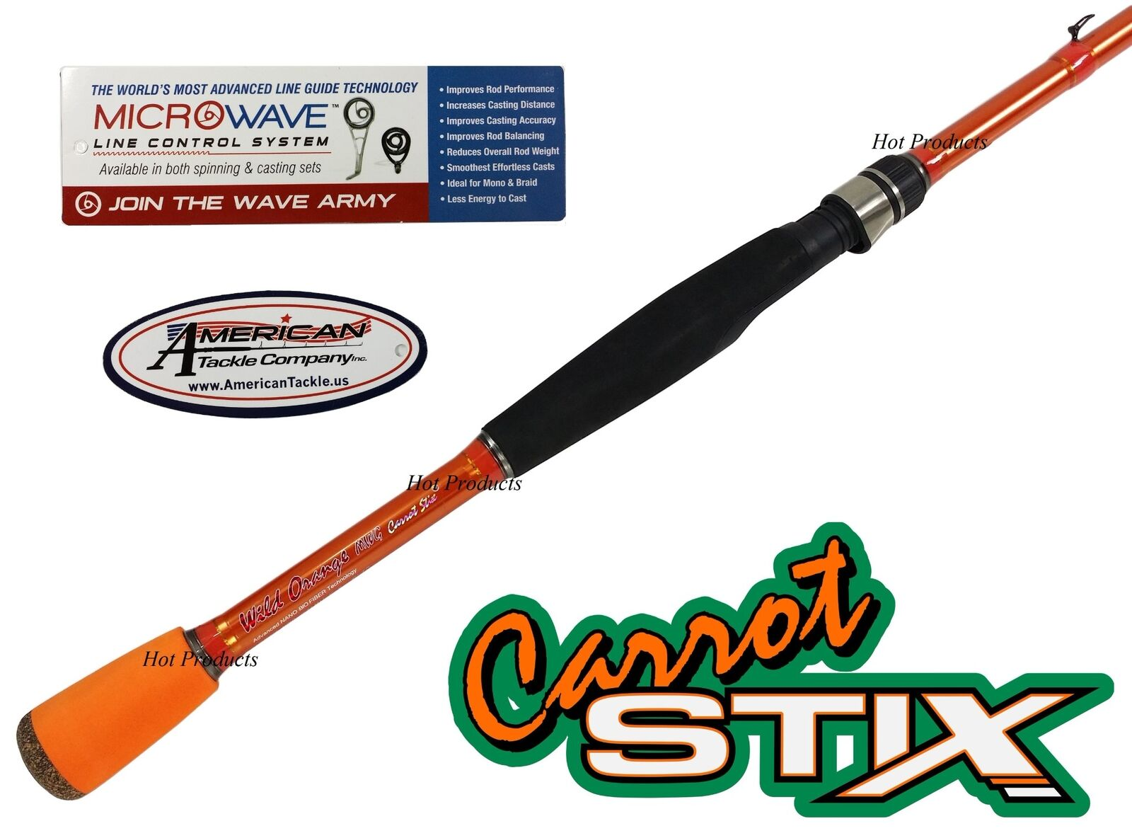 Carred Stix SPINNING 7' MEDIUM LIGHT Wild orange PLUS MicroWave Guide Fishing Ro
