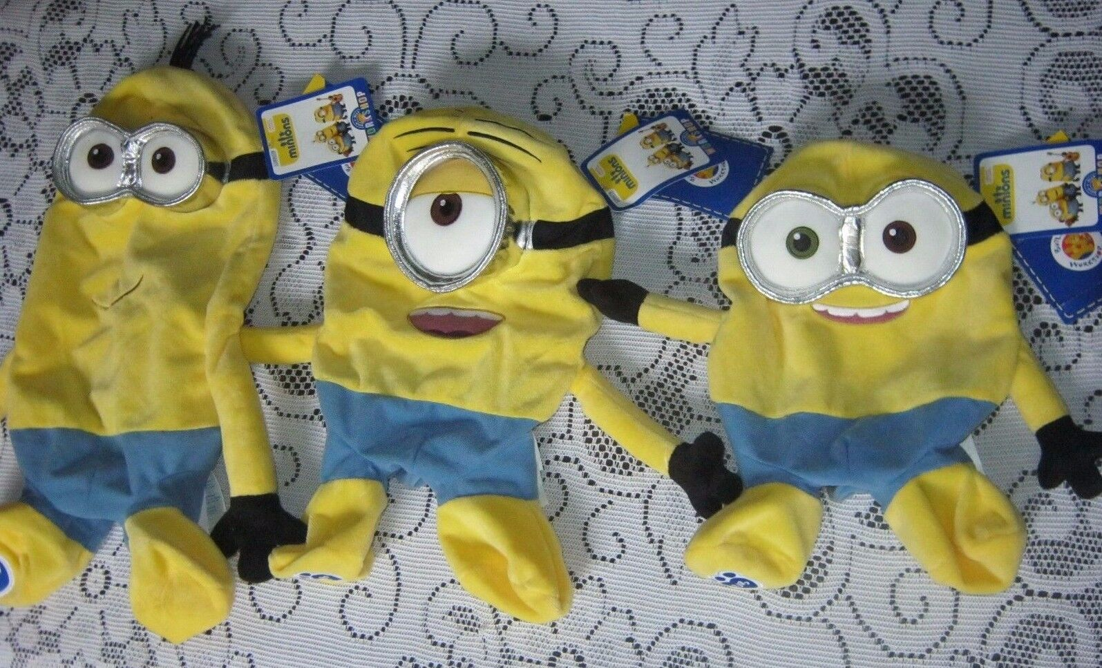 LOT 3 NWT BUILD A BEAR MINIONS Movie KEVIN BOB STUART PLUSH Toy UNSTUFFED BABW