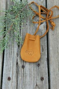Leather-neck-pouch-with-bear-totem-Leather-medicine-bag
