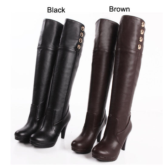 Women's Fashion High Heels Platform Party Knee High Boots Shoes UK Size 33-47