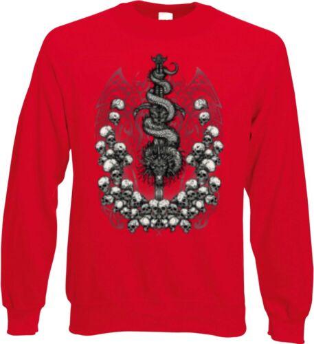 Sweatshirt in rot mit einem Tattoo-,Gothik-/& Bikermotiv Modell Tribel Skulls