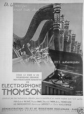 PUBLICITE THOMSON ELECTROPHONE PHONOGRAPHE MUSIQUE HARPE RAVEL DE 1935 FRENCH AD