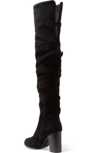 a046869b7ea6 4 of 10 SAM EDELMAN Sable Black Belt Strap Suede Over the Knee Boot NEW