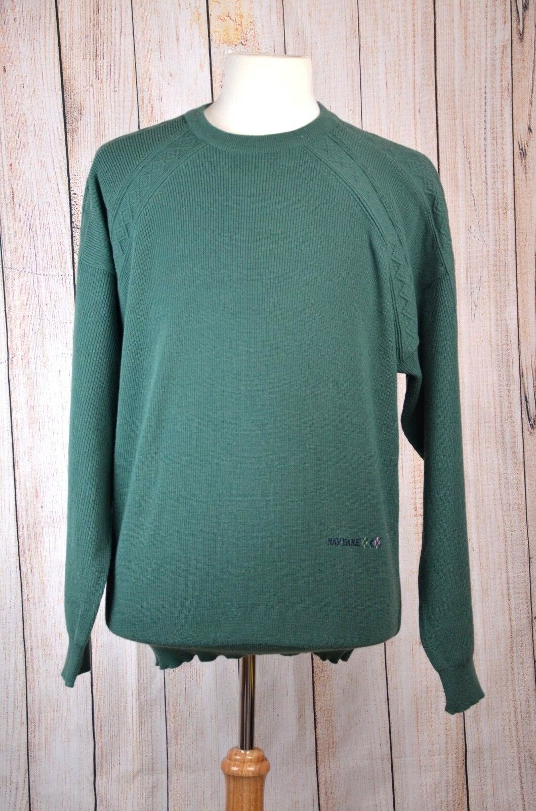 Navigare Mens XL Embroidery Sweater Sailing Yachting Green