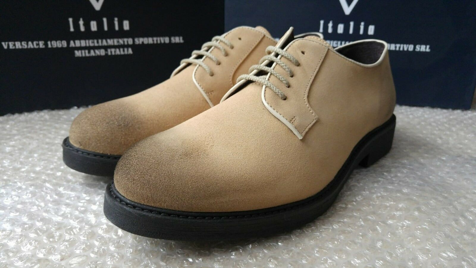 Versace 19.69 Italia men's light sole suede shoes size 43 - Made in