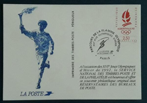 1 Carte Postale 1991 Fdc 1er Jour Albertville Flamme Olympique Collection Cadeau IdéAl Pour Toutes Les Occasions