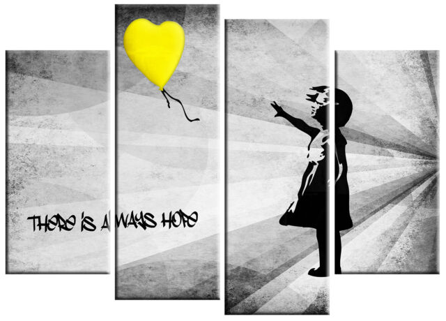 Superb EXTRA LARGE BANKSY GIRL U0026 YELLOW BALLOON CANVAS PICTURE YELLOW GREY WALL ART  5ft