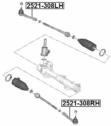 Steering Tie Rod End Febest 2521 308rh