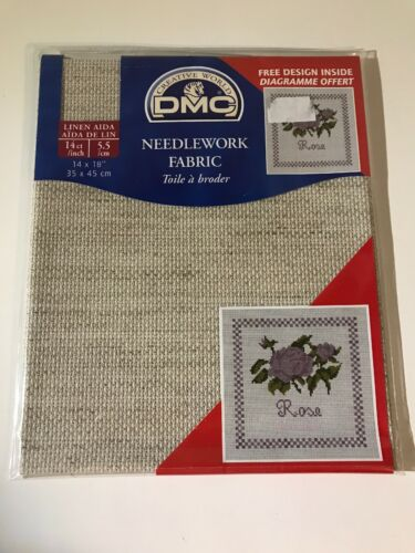 "5.5cm Beige Color 14/"" x 18/"" 14ct DMC Needlework Fabric Linen Aida"
