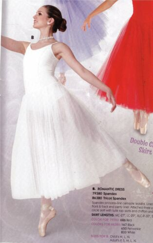 NWT Mainstreet Ballet Dance attached Romantic Dress White Ch//ladies tulle chiffo