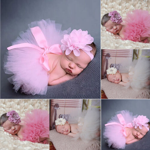 Cute Newborn Headdress Flower+Tutu Clothes Skirt Baby Girls Photo Prop Outfits
