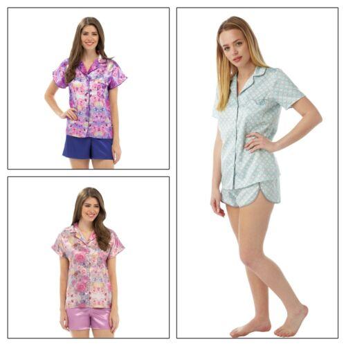 Ladies Summer Satin PJs Pyjamas Short Sleeve Shorts Shorty PJs Button Up
