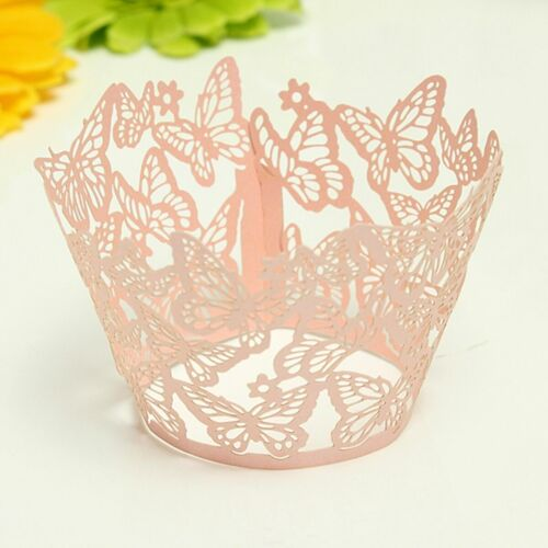 25 PC Light Pink Butterfly Lace Cupcake WrappersBakell®