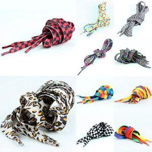 Flat-Leopard-Polka-Dot-Zebra-Plaid-Boots-Sneakers-Trainers-Shoes-Laces-Shoelaces