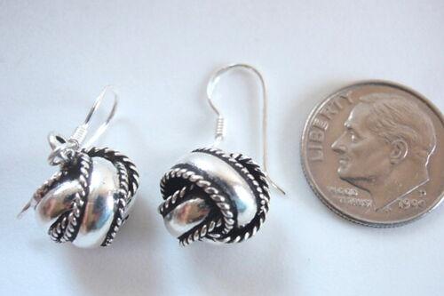 Bali Knot Dangle Earrings 925 Sterling Silver Corona Sun Jewelry