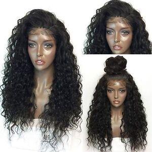Hand-Tie-Nature-Noir-Femmes-Perruque-65cm-Long-Frisee-Ondule-Lace-Front-Cheveux